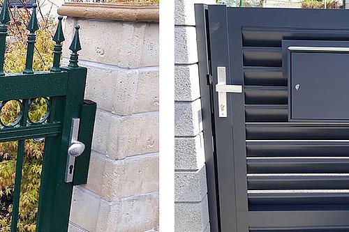 Bilder von zwei Gehtüren mit Türanschlag, einmal in Standardausführung und einmal in durchgehender Ausführung
