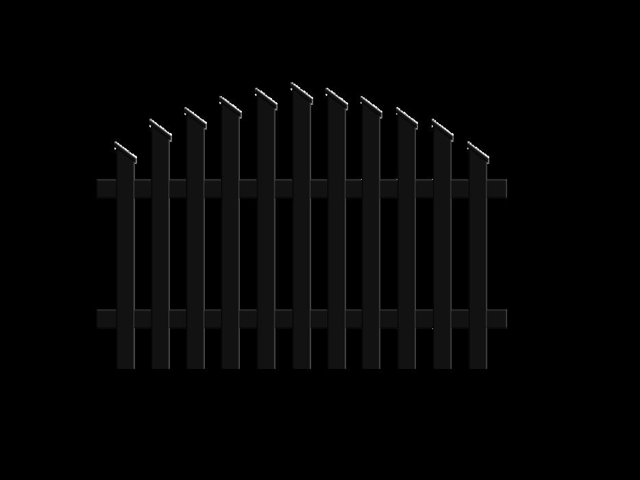 Jägerzaunfeld konvex rund in anthrazit, Modell Treviso, auf weißem Hintergrund