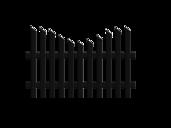 Jägerzaunfeld konkav geschwungen in anthrazit, Modell Treviso von GUARDI, auf weißem Hintergrund