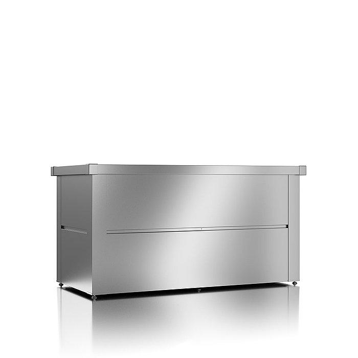 Gartenbox aus Stahl in der Farbe silber metallic mit geschlossenem Deckel