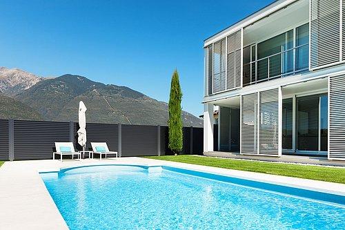Guardi, alu zaun, gartenzaun modern, aluminiumzaun, gartenzaun, terrassen sichtschutz,