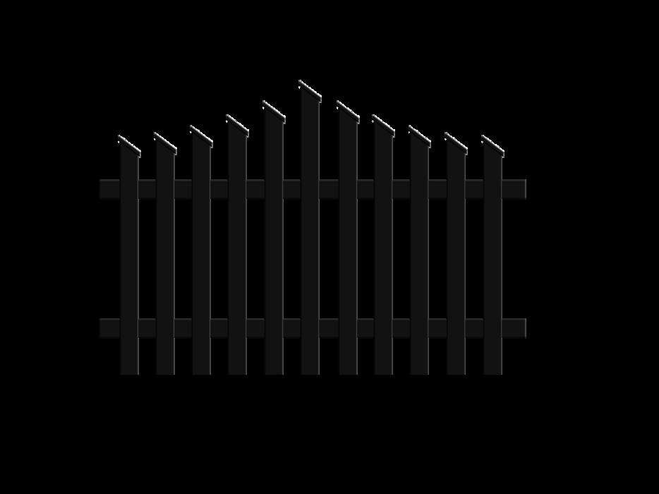 Jägerzaunfeld konvex spitz geschwungen in anthrazit, Modell Treviso, auf weißem Hintergrund