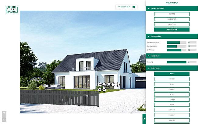 Zu sehen ist ein Screenshot aus dem 3D-Planer von GUARDI, mit dem Zaunmodelle in einem Foto visualisiert werden können