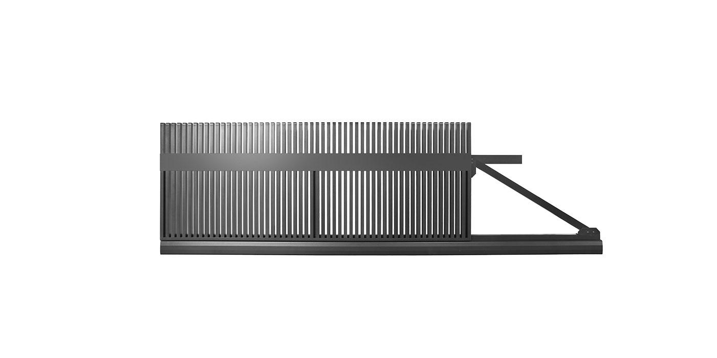 Passendes Schiebetor zum Lattenzaun in anthrazit designed von Studio F.A. Porsche, Modell Epos, auf weißem Hintergrund