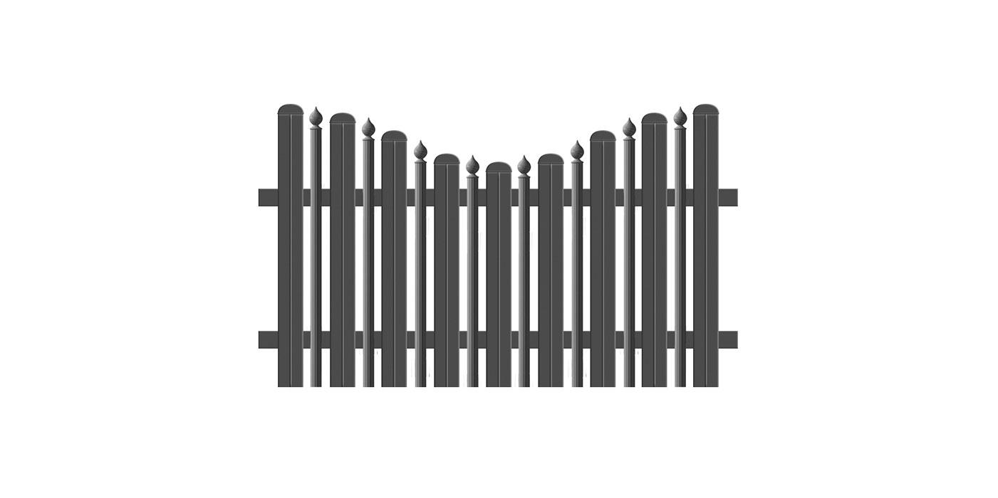 Kombiniertes Latten- und Palisadenzaunfeld mit Zwiebeln in anthrazit, Modell Milano konkav geschwungen, auf weißem Hintergrund