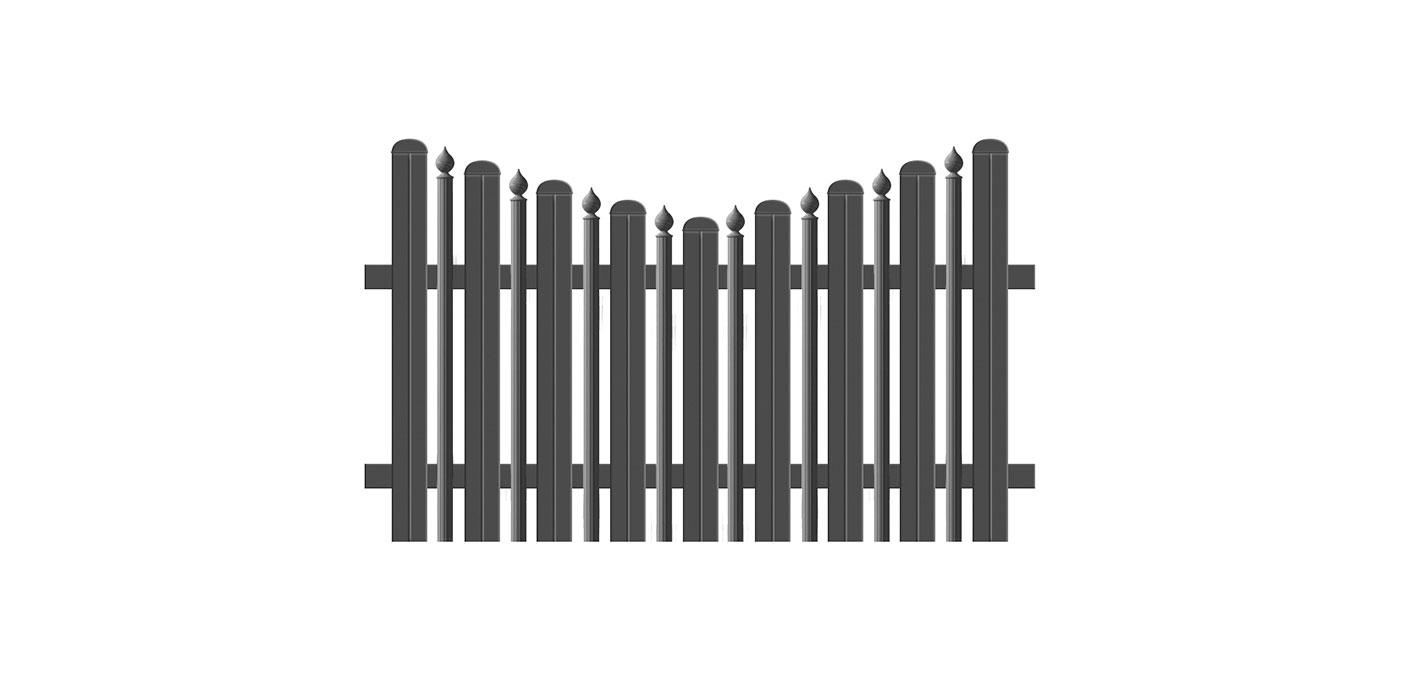 Kombiniertes Latten- und Palisadenzaunfeld mit Zwiebeln in anthrazit, Modell Milano konkav spitz, auf weißem Hintergrund