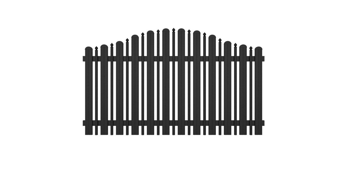 Kombiniertes Latten- und Palisadenzaunfeld mit Zwiebeln in anthrazit, Modell Milano konvex geschwungen, auf weißem Hintergrund
