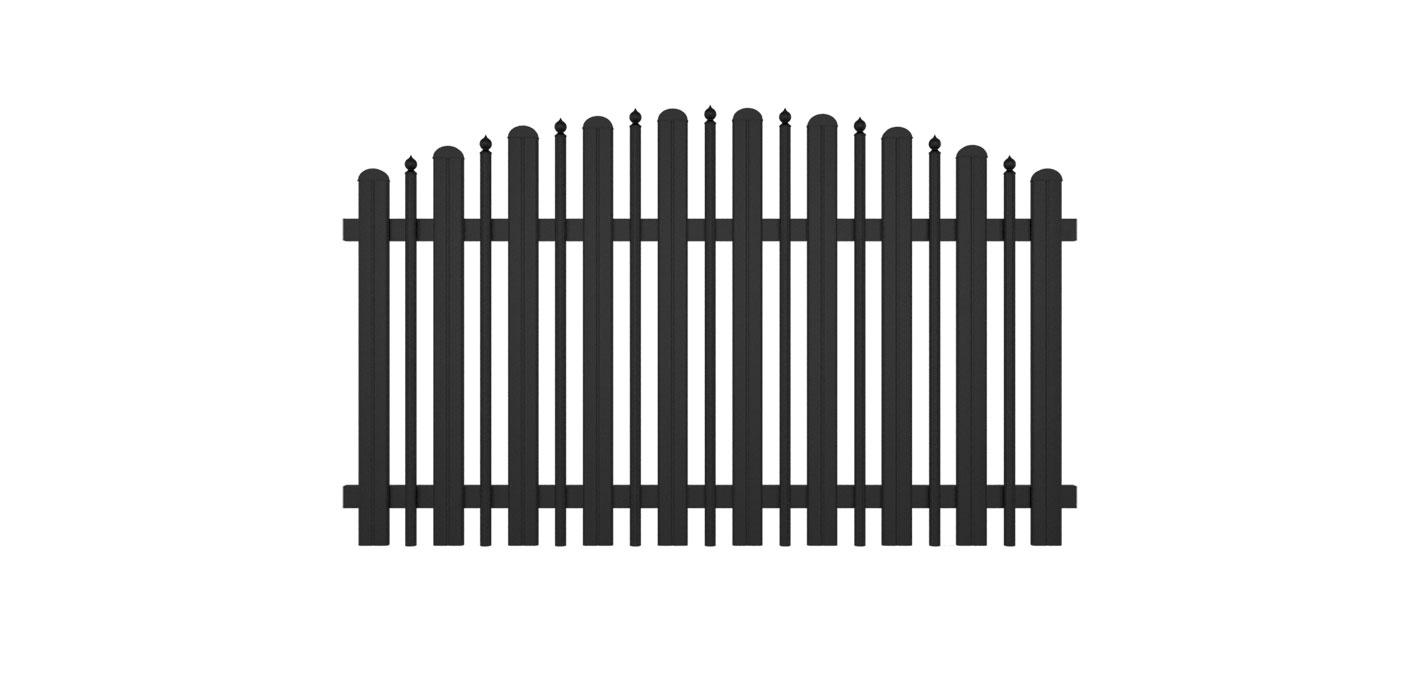 Kombiniertes Latten- und Palisadenzaunfeld mit Zwiebeln in anthrazit, Modell Milano konvex rund, auf weißem Hintergrund