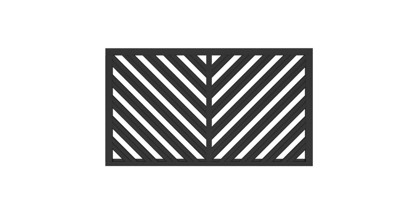 Zaunfeld in anthrazit, Modell Umbria doppelt-diagonal V-Form, auf weißem Hintergrund