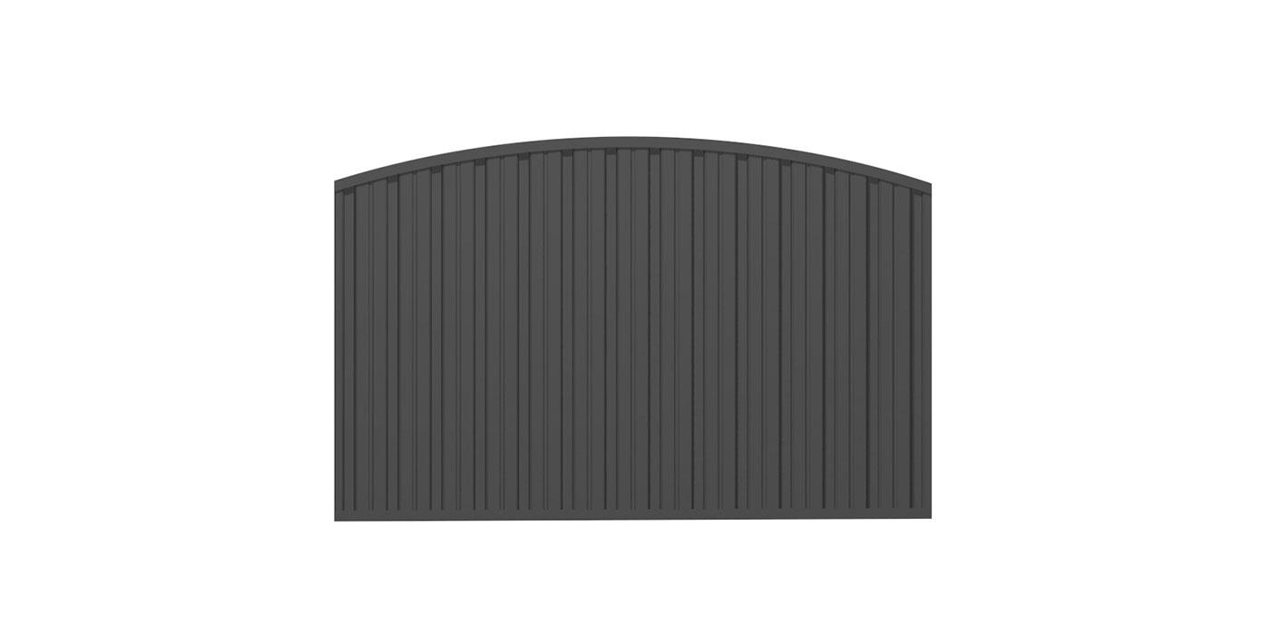 Blickdichtes Zaunfeld in anthrazit, Modell Umbria konvex rund, auf weißem Hintergrund