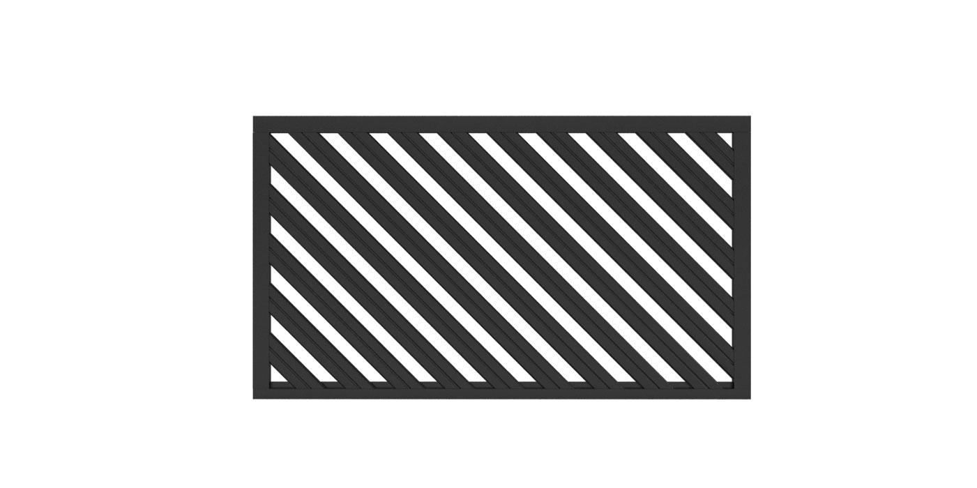 Zaunfeld mit 82mm Profil in anthrazit, Modell Umbria diagonal links, auf weißem Hintergrund