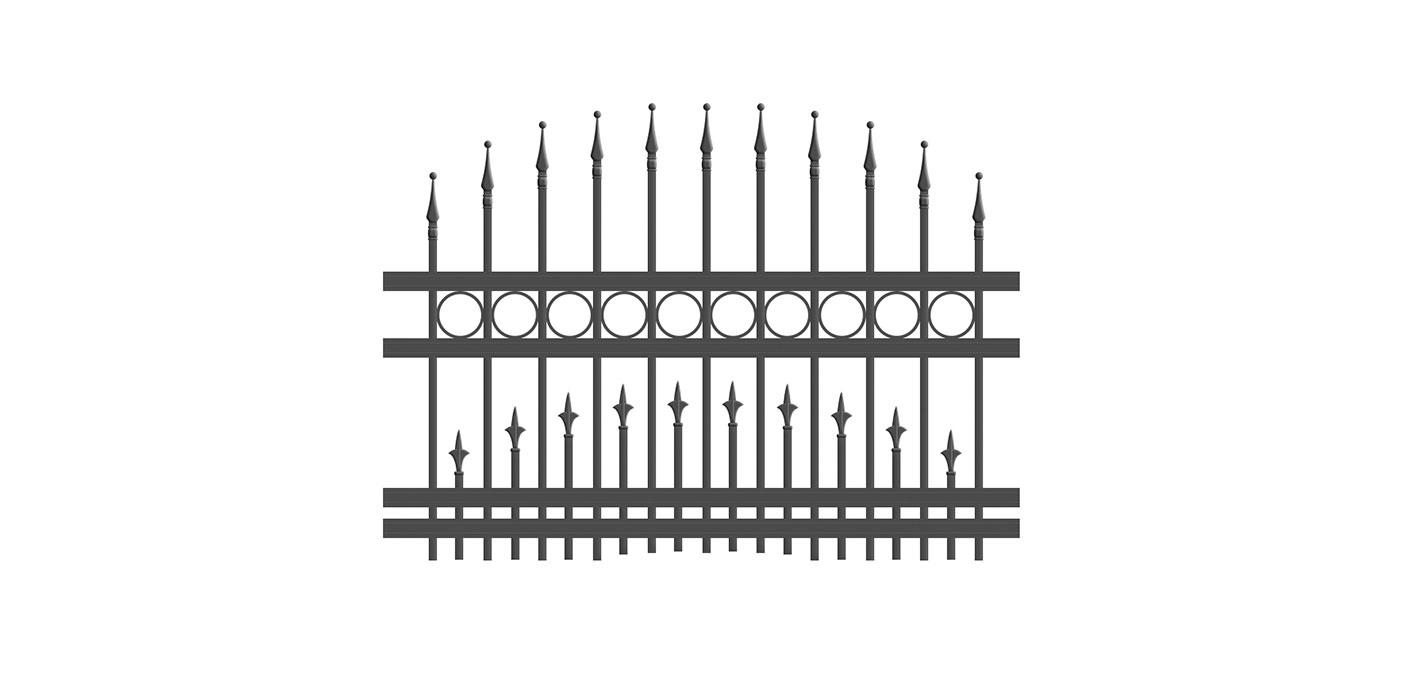 Kunstschmiedezaunfeld konvex mit Dekorringen und untere Stabreihe in anthrazit, Modell Venezia, auf weißem Hintergrund
