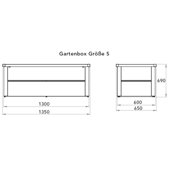 Skizze einer Gartenbox aus Stahl mit Angabe der Außen- und Innenmaße und der Höhe